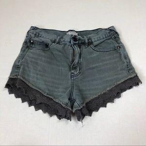 Free People Lace Hem Denim Shorts